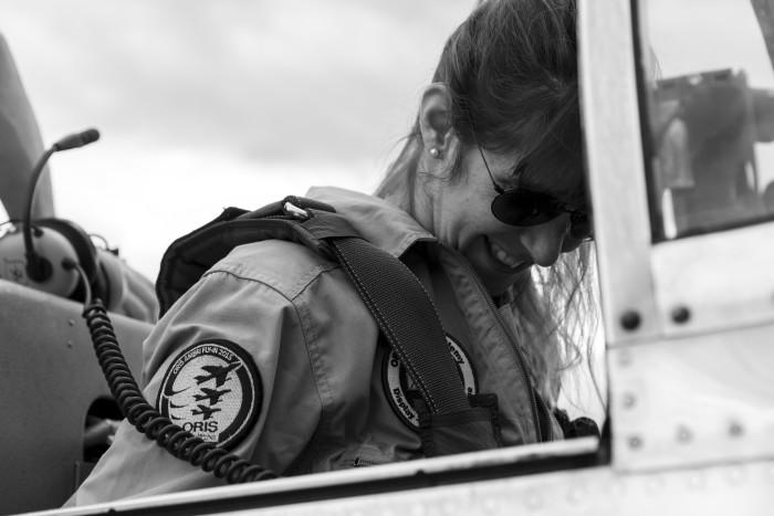 Natascha Wirth in der Pilatus P-3
